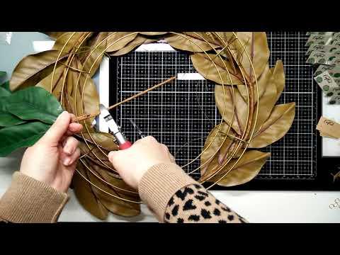 DIY Faux Greenery Wreath - Magnolia Leaves