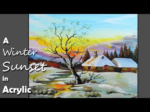 Acrylic Painting | A Winter Sunset on Paper step by step