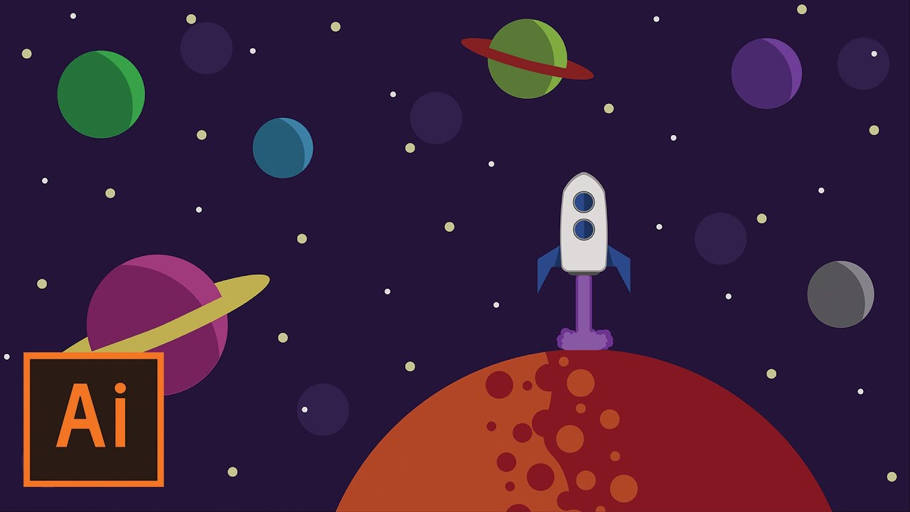 Illustrator tutorial flat design outer space youtube for Outer space stage design