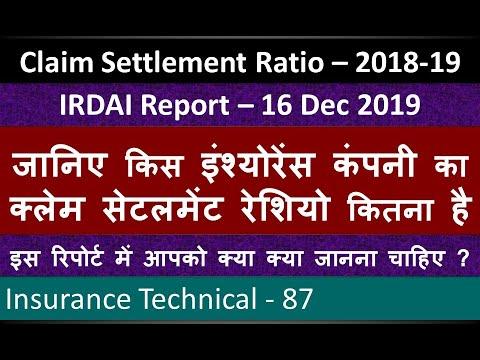 Claim Settlement Ratio 2018-19 | IRDAI Report 16 Dec 2019