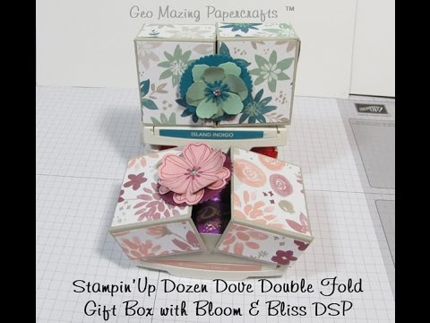Stampin'Up Double Fold Dozen Dove Gift Box with Blooms & Bliss DSP