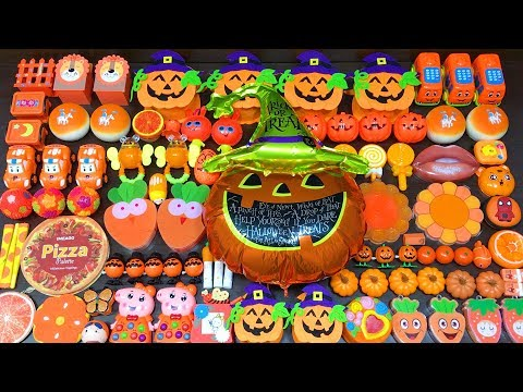 Halloween Orange Slime ! Mixing Random Things into Slime! Slimesmoothie Satisfying Slime Videos #472