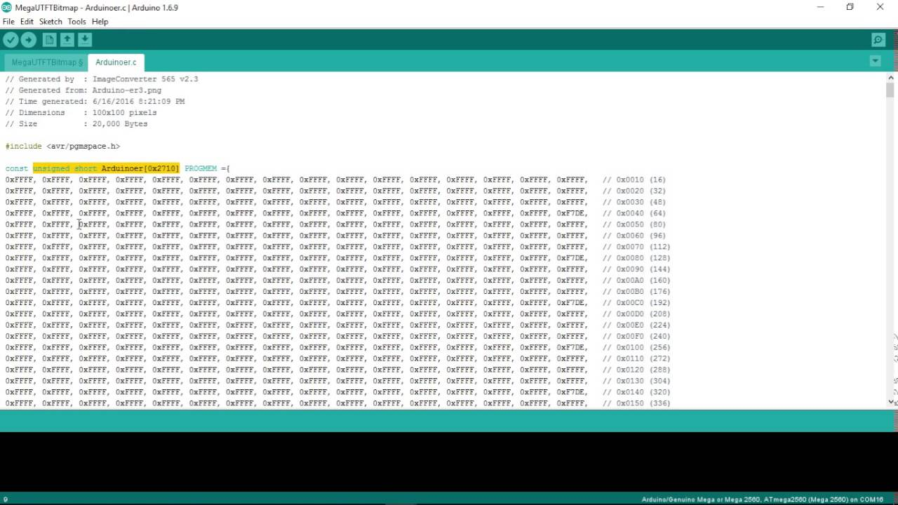 Arduino Mega Draw bitmap on 3 2