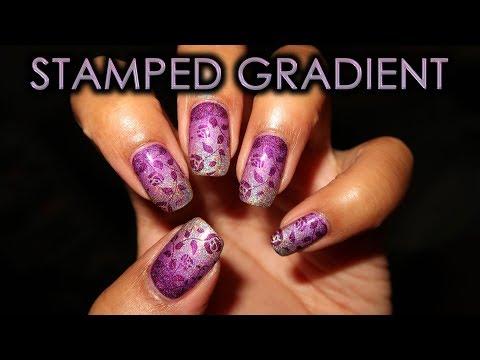 Purple Stamped Gradient | DIY Nail Art Tutorial thumbnail