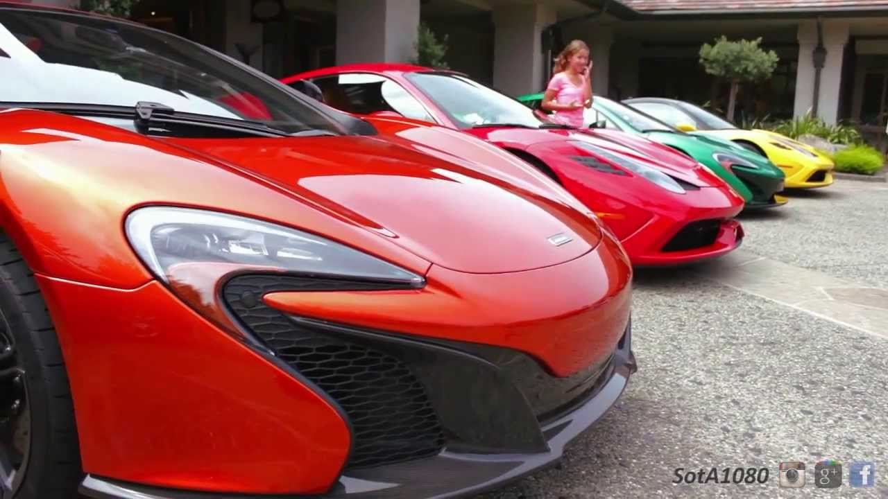 ... Orange McLaren 650s With Two Speciale's and Green P1 - YouTube