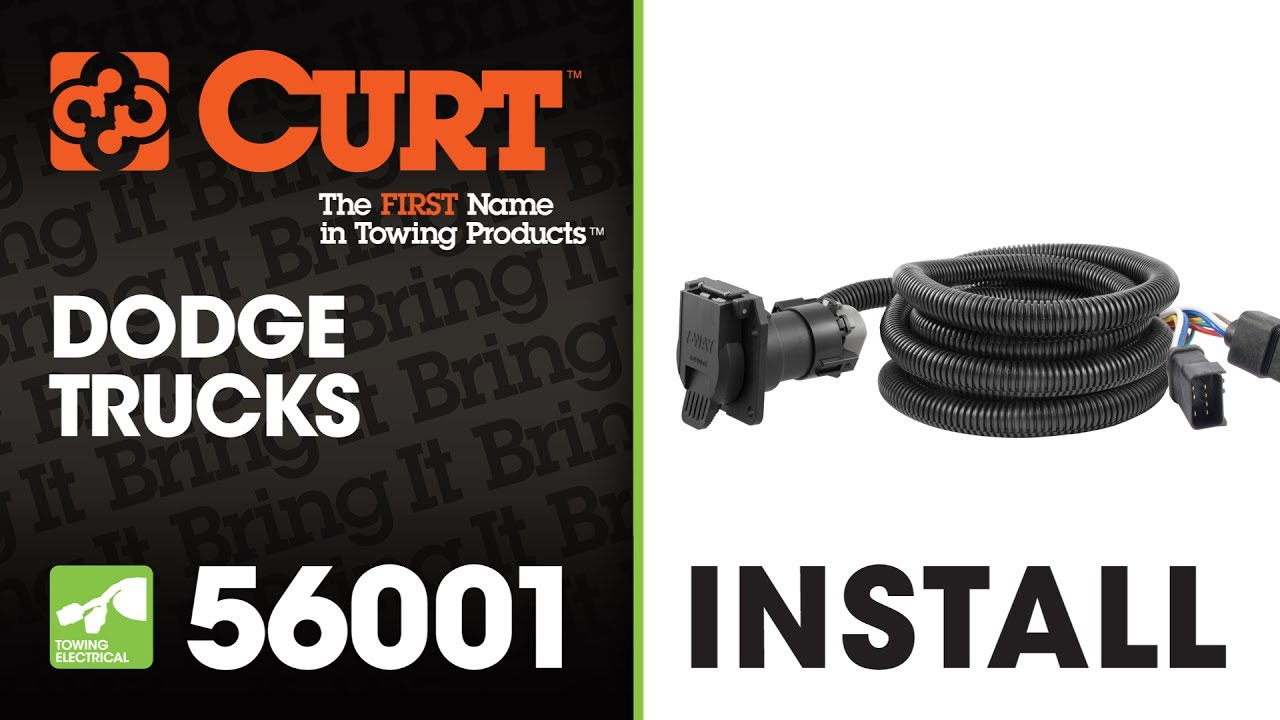 trailer wiring install curt 56001 7 way extension harness for dodge trucks [ 1280 x 720 Pixel ]