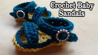CROCHET How to #Crochet Easy Baby Sandals Shoes #TUTORIAL #213 LEARN CROCHET
