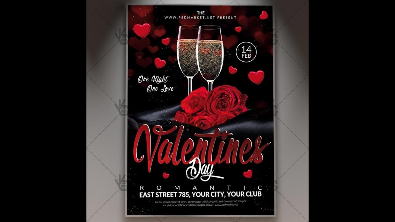 Happy Valentines Day Flyer Psd Template Youtube