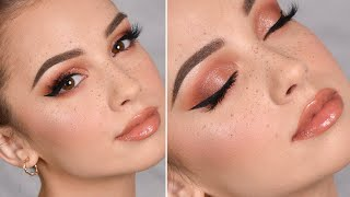 WEARABLE GLAM Makeup Tutorial + Fake Freckles