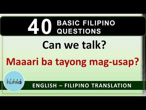 BASIC FILIPINO QUESTIONS #1 (English - Tagalog Translation)