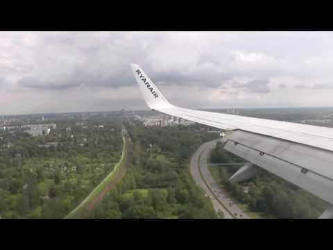 View of Riga from the height. Plane landing in Riga Airport