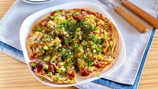 Teriyaki Chicken Pizza (Japanese Pizza Topping Recipe Idea)   OCHIKERON   Create Eat Happy :)