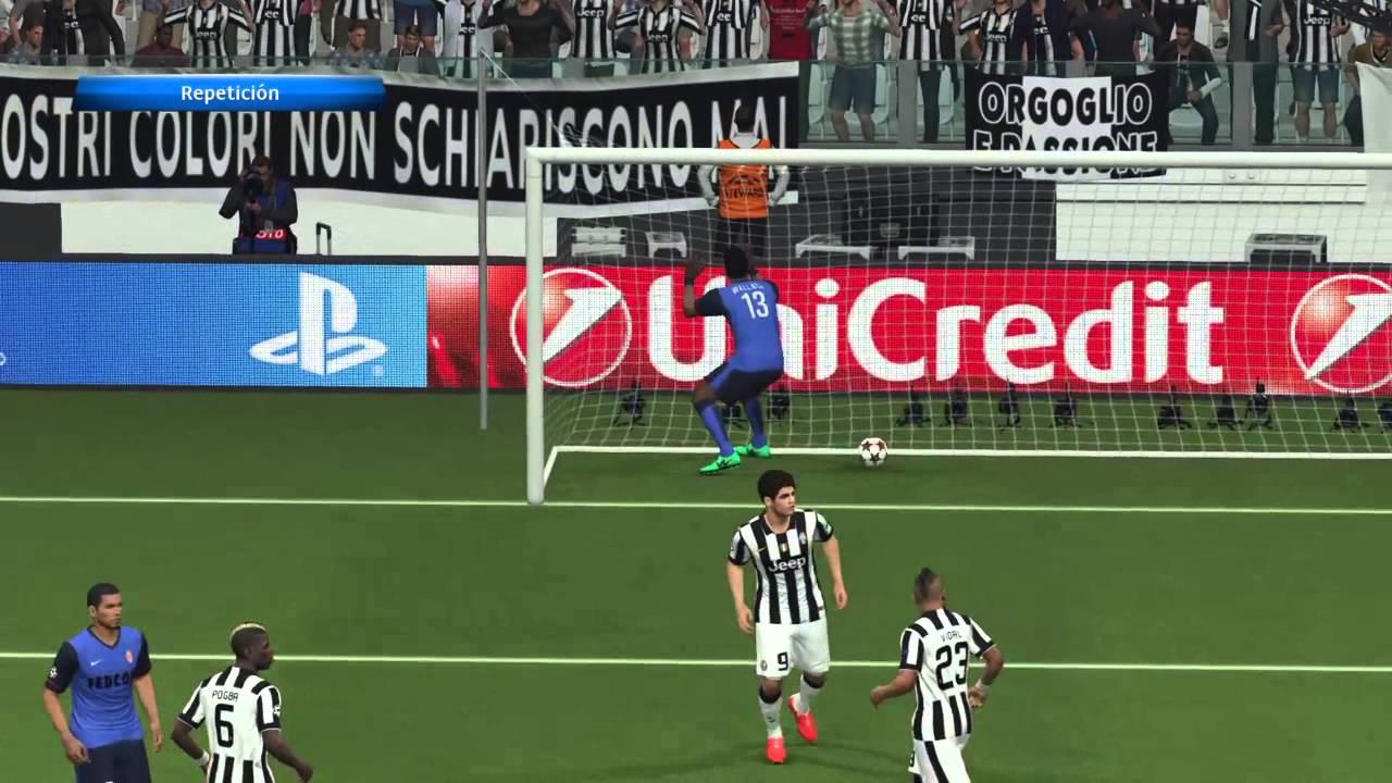 UEFA Champions League JUV vs MON Cuartos de Final Ida Pes 2015 - YouTube