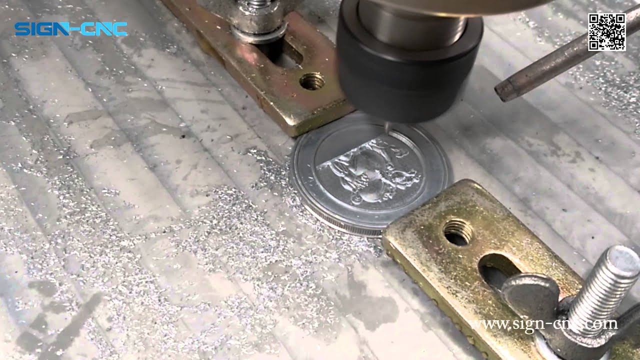 Sign 4040 Cnc Router Carving The Coin Metal 3d Carving