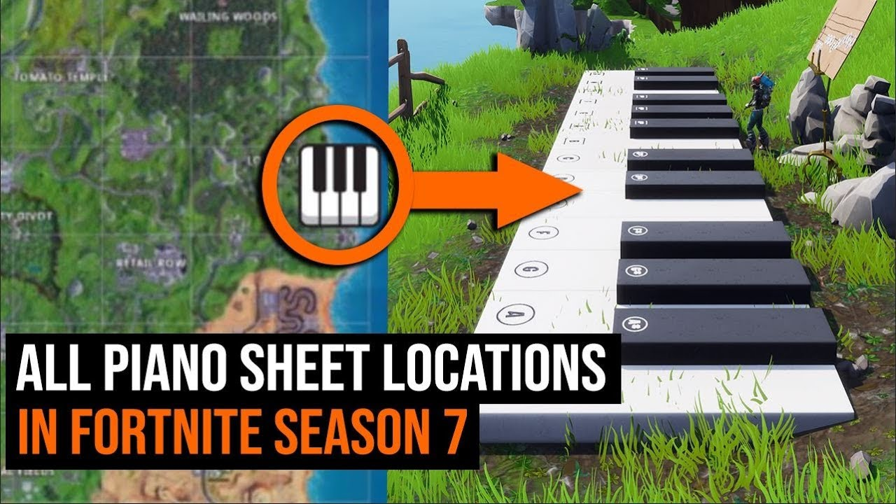 All Piano Sheet Locations In Fortnite Season 7 Youtube