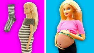 DIY BARBIE HACKS AND CRAFTS: Miniature Baby, Pregnant Doll. Easy Clothes for Barbies Doll From Socks