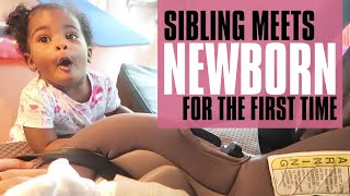 Sibling meets newborn sister for first time 😍 | BRINGING BABY HOME FROM HOSPITAL!