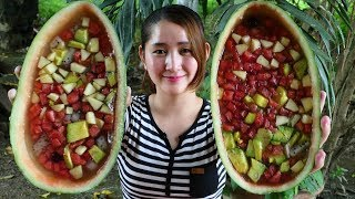 Yummy Agar Jelly Fruit In Watermelon - Fruit Jelly In Watermelon - Cooking With Sros