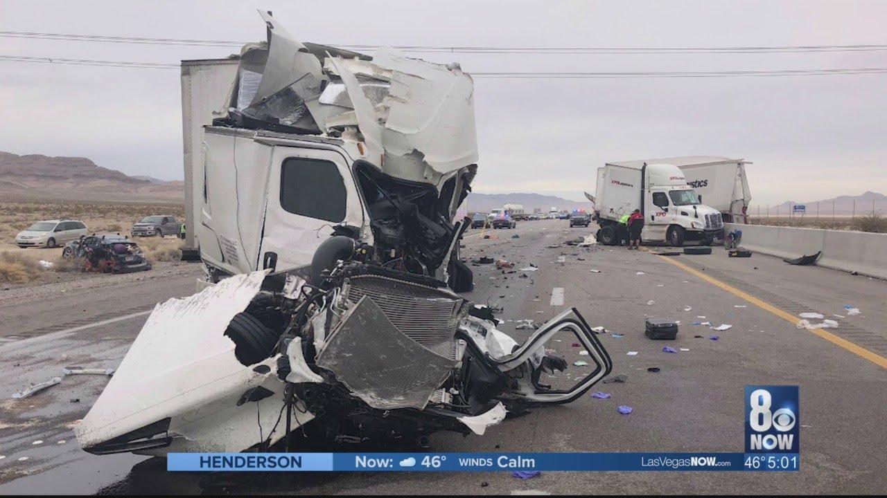 9 vehicles involved in crash on I-15, near Primm