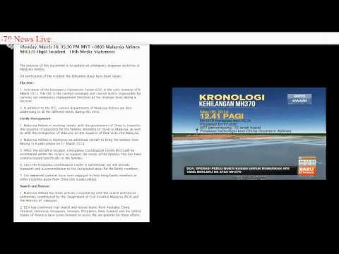 Malaysia Airlines Flight MH370 News Live (10/3/2014)