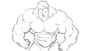 How I draw a bodybuilder Manga style part 1 (pencil)