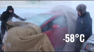 Frozen car at -58°C in Yakutia (Come riscaldano la macchina congelata)