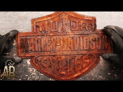 Restoration of old Harley Davidson Motorcycle sign