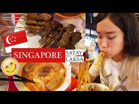 SINGAPORE STREET FOOD LAKSA NOODLE SATAY STICKS   MUKBANG VLOG
