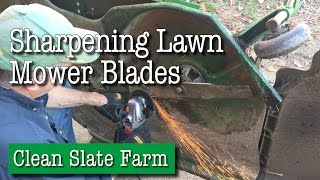 Sharpening Lawn Mower Blades on a John Deere 62D Mower Deck