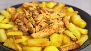 Всего 2 ингредиента и вкусный ужин готов КУРИЦА С ЖАРЕНОЙ КАРТОШКОЙ Рецепт Всегда Вкусно