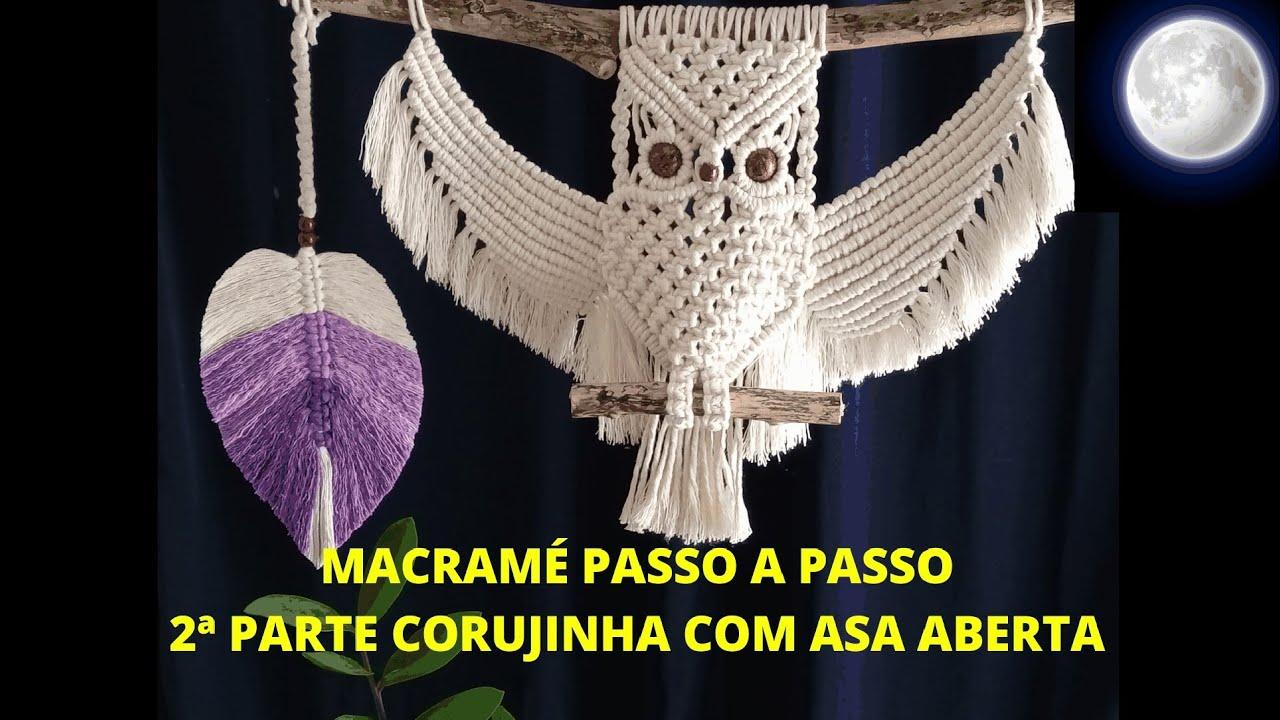 MACRAMÉ PASSO A PASSO CORUJINHA COM ASA ABERTA - 2ª PARTE