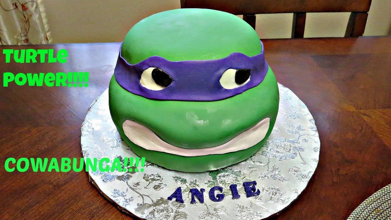 How to decorate a 3D Ninja Turtle Head Fondant Cake YouTube