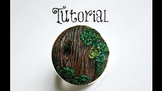 Wood Grain & Moss Polymer Clay Tree/Bark/Nature Ring Tutorial | Velvetorium