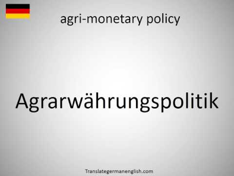 How to say agri-monetary policy in German?