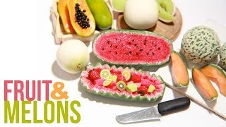 How To Make Miniature Melons - Polymer Clay - Cantaloupe, Honey Dew, Papaya, Watermelon
