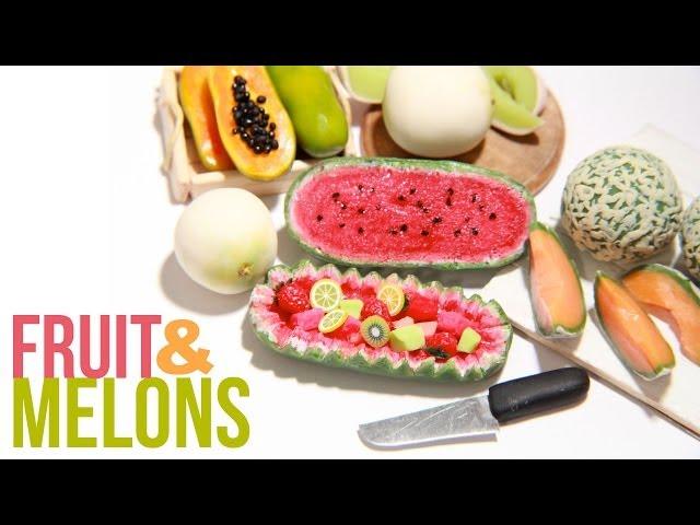 How To Make Miniature Melons - Polymer Clay - Cantaloupe, Honey Dew, Papaya, Watermelon