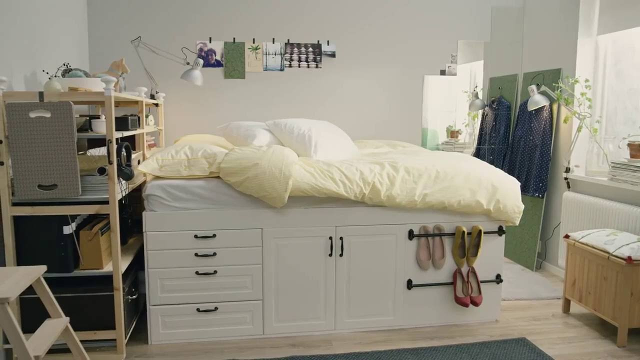 ikea quadratmeterchallenge winziges schlafzimmer f r zwei youtube. Black Bedroom Furniture Sets. Home Design Ideas