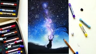 Drawing a galaxy with soft pastels | Leontine van Vliet