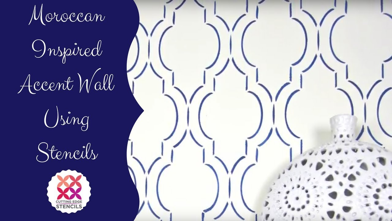 How To Stencil A Feature Wall Using A Popular Moroccan Design Youtube