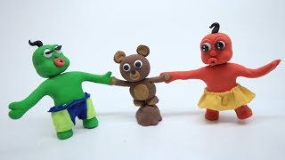 Red & Green Baby FIGHT OVER TEDDY BEAR - Stop Motion Cartoons For Kids