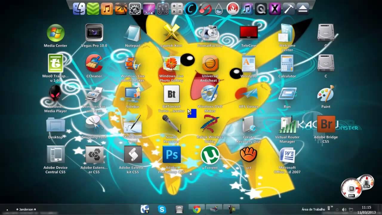 Personalização de Windows 7 Área de trabalho XLaunchPad Desk Top igual a um  TABLET/ MAC OS