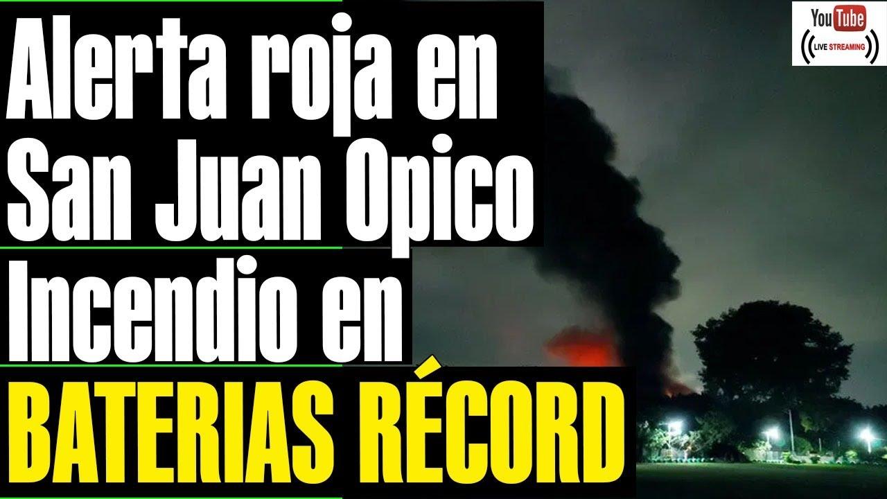 """EVACUACIONES  en San Juan Opico, Incendio de """"grandes proporciones"""" EX FABRICA BATERIAS RECORD"""