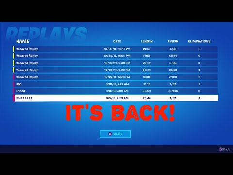 Fortnite Replay Mode Is Back (replay Mode Fortnite) *replay Mode Bug Fixed*