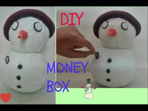 How To Make Snowman Money Box Out Of Paper Napkins-DIY Snowman Money Box