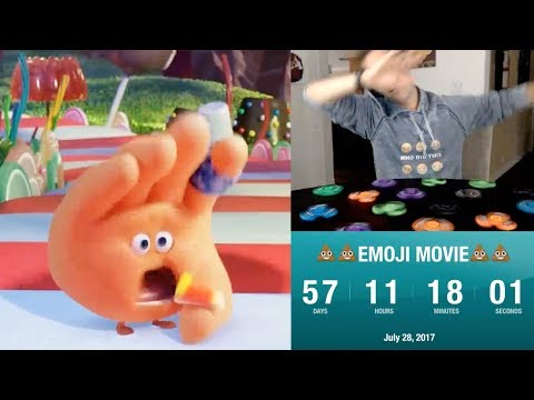 Counting down to The Emoji Movie while spinning 15 fidget spinners and dabbing every 60 seconds