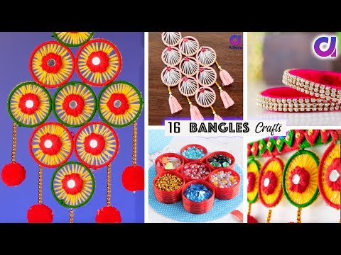 16 BEST OUT OF WASTE OLD BANGLES CRAFT IDEAS | Festival Home Decor | Artkala