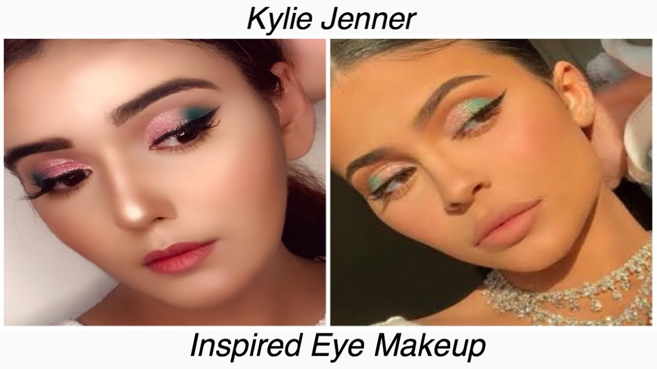 Kylie Jenner Inspired Makeup | Green and Pink Glitter Cut ...
