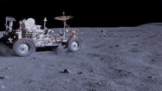An Astronaut Driving on the Surface of the Moon