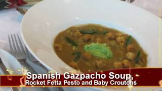Spanish Gazpacho Soup, Rocket Fetta Pesto And Baby Croutons