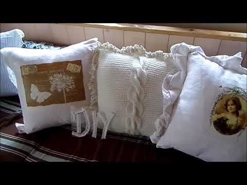 diy shabby chic kissen 1 spitze borte selber machen an h keln youtube. Black Bedroom Furniture Sets. Home Design Ideas